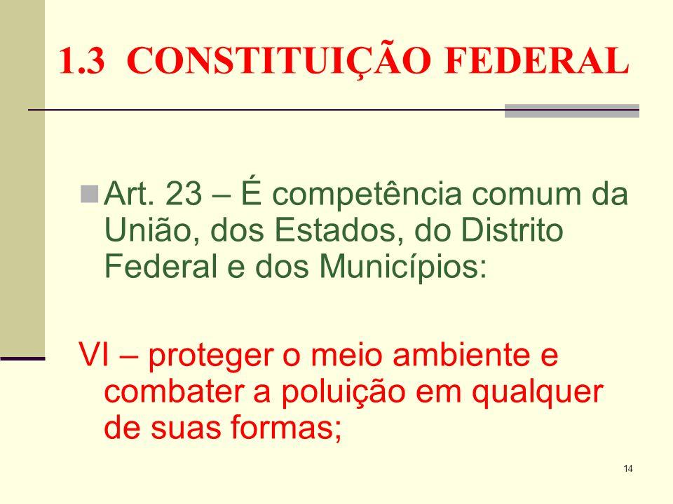 1.3 CONSTITUIÇÃO FEDERAL Art. 23 – É competência comum da União, dos Estados, do Distrito Federal e dos Municípios: