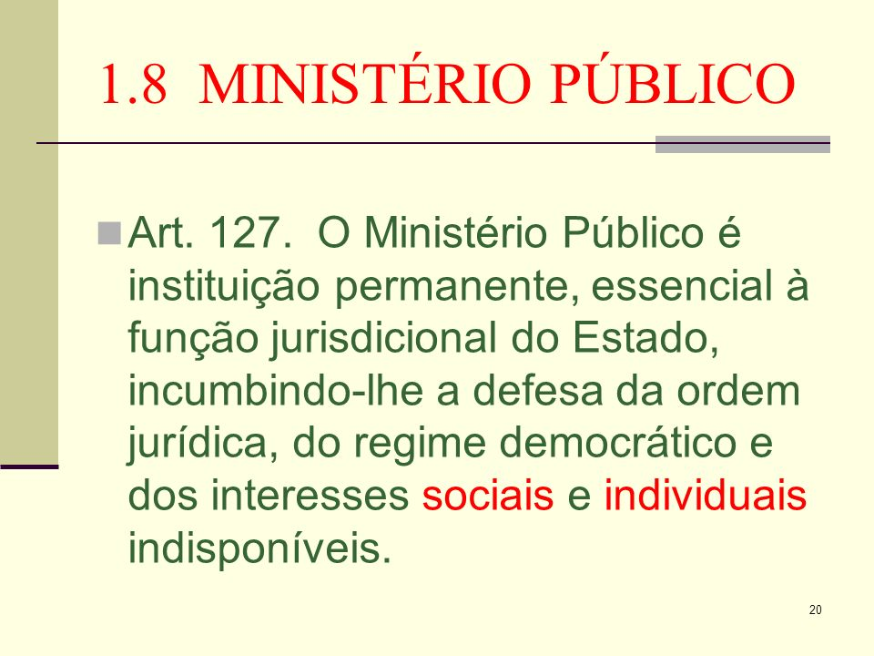 1.8 MINISTÉRIO PÚBLICO