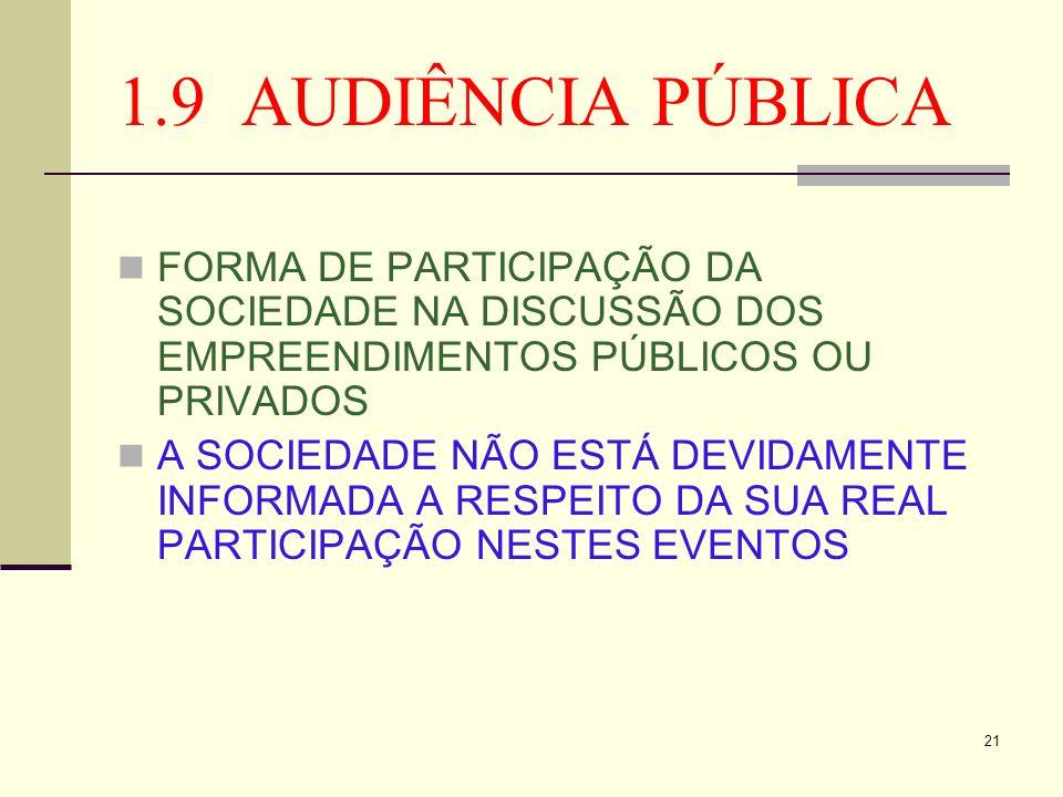 1.9 AUDIÊNCIA PÚBLICA FORMA DE PARTICIPAÇÃO DA SOCIEDADE NA DISCUSSÃO DOS EMPREENDIMENTOS PÚBLICOS OU PRIVADOS.