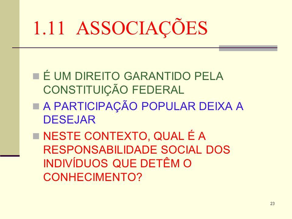 1.11 ASSOCIAÇÕES É UM DIREITO GARANTIDO PELA CONSTITUIÇÃO FEDERAL