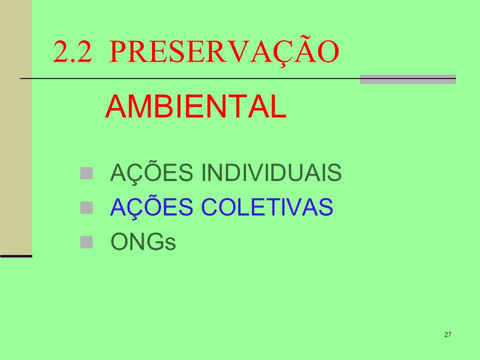 2.2 PRESERVAÇÃO AMBIENTAL AÇÕES INDIVIDUAIS AÇÕES COLETIVAS ONGs