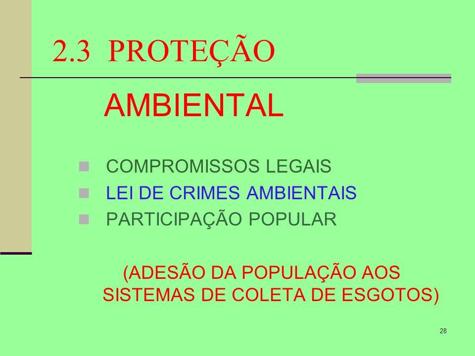 (ADESÃO DA POPULAÇÃO AOS SISTEMAS DE COLETA DE ESGOTOS)