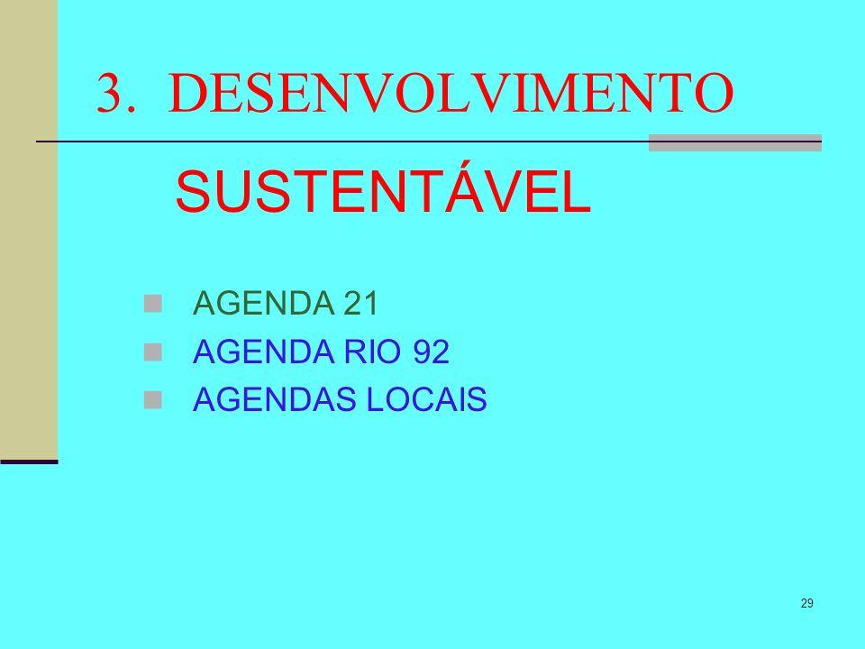 3. DESENVOLVIMENTO SUSTENTÁVEL AGENDA 21 AGENDA RIO 92 AGENDAS LOCAIS
