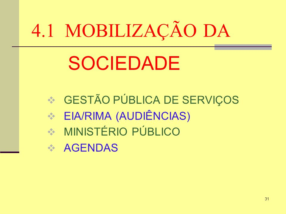 4.1 MOBILIZAÇÃO DA SOCIEDADE GESTÃO PÚBLICA DE SERVIÇOS