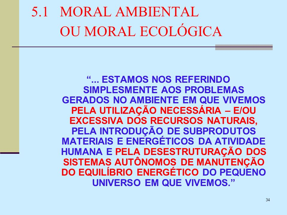 5.1 MORAL AMBIENTAL OU MORAL ECOLÓGICA