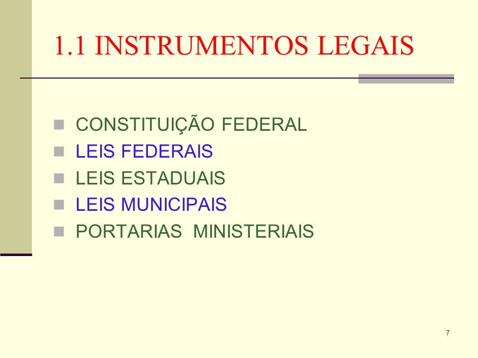 1.1 INSTRUMENTOS LEGAIS CONSTITUIÇÃO FEDERAL LEIS FEDERAIS