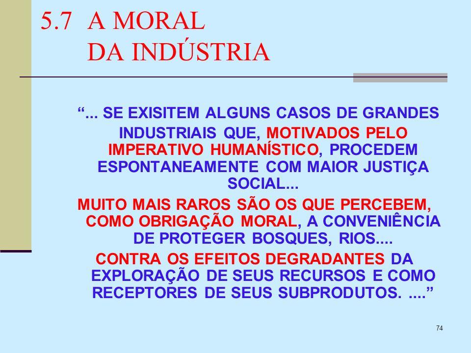 5.7 A MORAL DA INDÚSTRIA