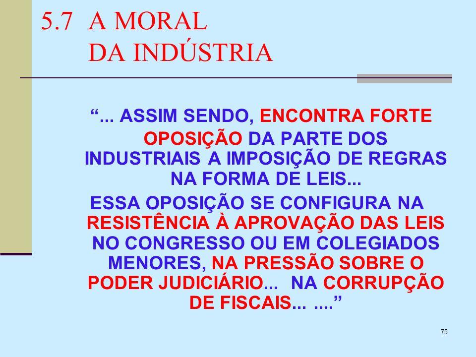 5.7 A MORAL DA INDÚSTRIA ... ASSIM SENDO, ENCONTRA FORTE OPOSIÇÃO DA PARTE DOS INDUSTRIAIS A IMPOSIÇÃO DE REGRAS NA FORMA DE LEIS...