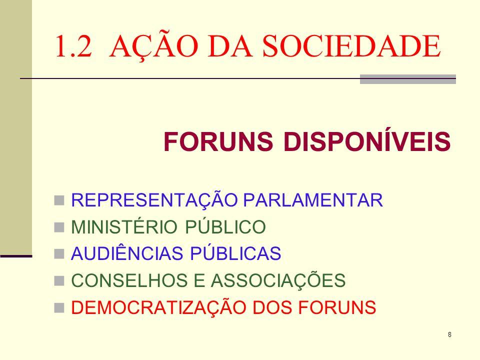 1.2 AÇÃO DA SOCIEDADE FORUNS DISPONÍVEIS REPRESENTAÇÃO PARLAMENTAR