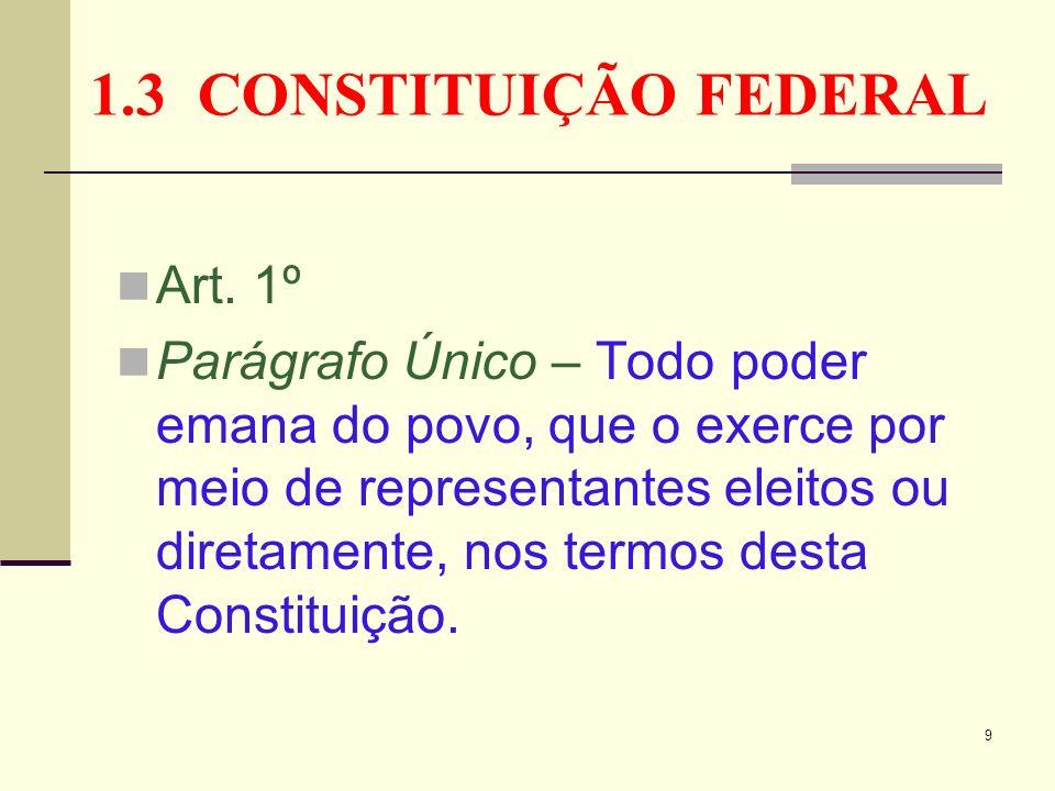 1.3 CONSTITUIÇÃO FEDERAL Art. 1º