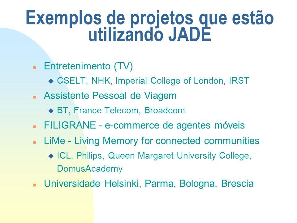 Exemplos de projetos que estão utilizando JADE