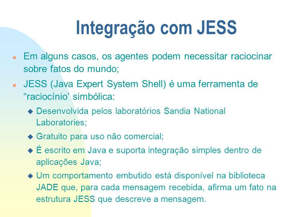 Integração com JESSEm alguns casos, os agentes podem necessitar raciocinar sobre fatos do mundo;