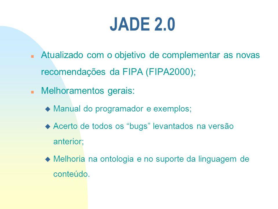 JADE 2.0 Atualizado com o objetivo de complementar as novas recomendações da FIPA (FIPA2000); Melhoramentos gerais: