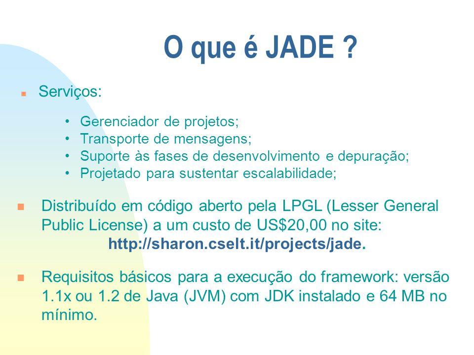 O que é JADE Serviços: Gerenciador de projetos; Transporte de mensagens; Suporte às fases de desenvolvimento e depuração;