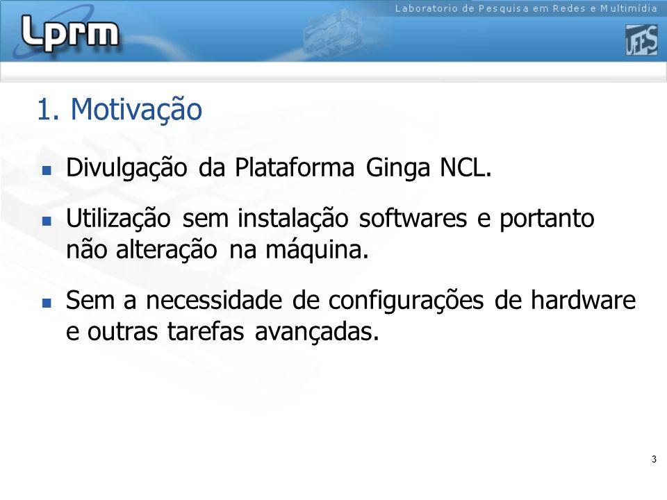 1. Motivação Divulgação da Plataforma Ginga NCL.
