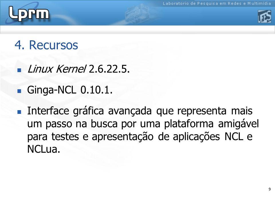 4. Recursos Linux Kernel 2.6.22.5. Ginga-NCL 0.10.1.