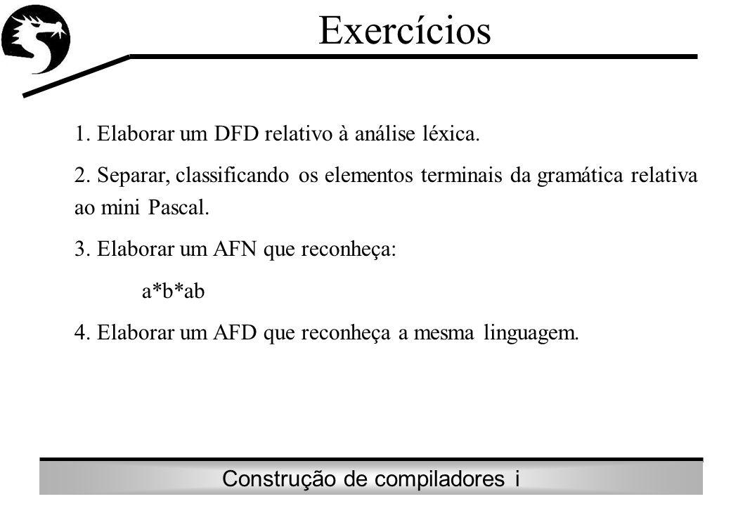 Exercícios 1. Elaborar um DFD relativo à análise léxica.