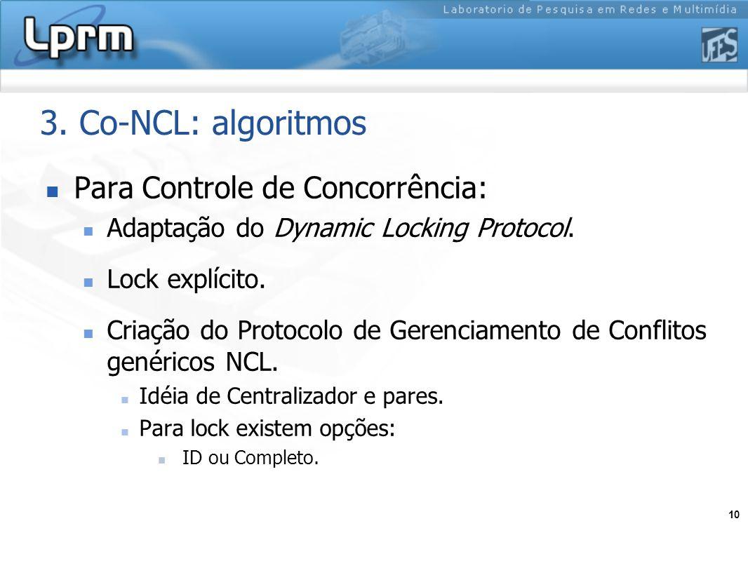 3. Co-NCL: algoritmos Para Controle de Concorrência: