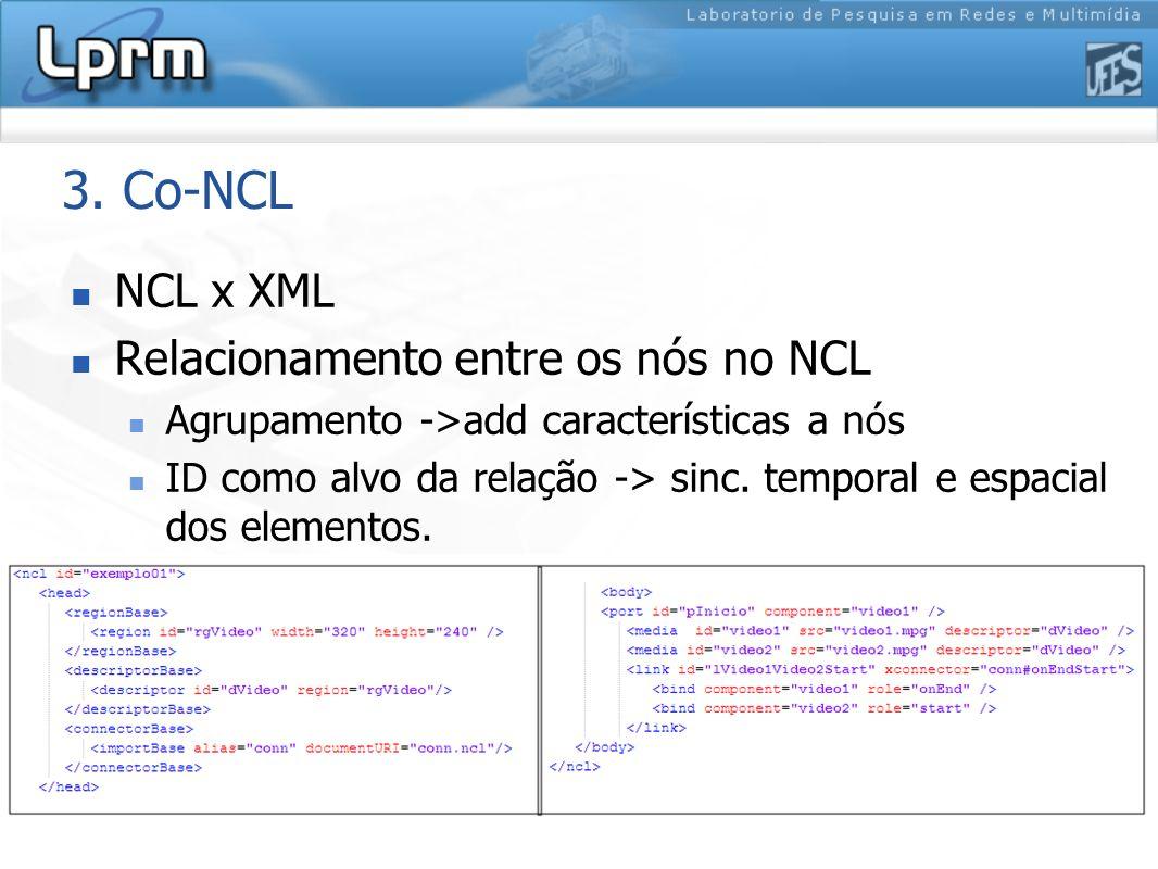 3. Co-NCL NCL x XML Relacionamento entre os nós no NCL