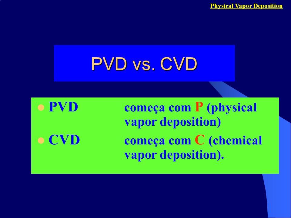 PVD vs. CVD PVD começa com P (physical vapor deposition)