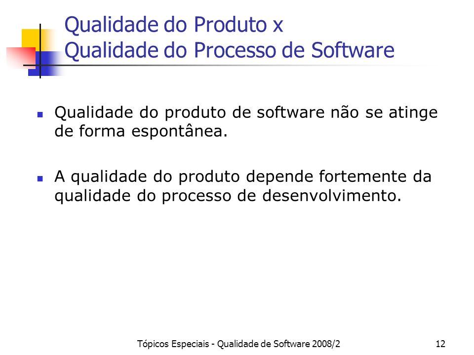 Qualidade do Produto x Qualidade do Processo de Software