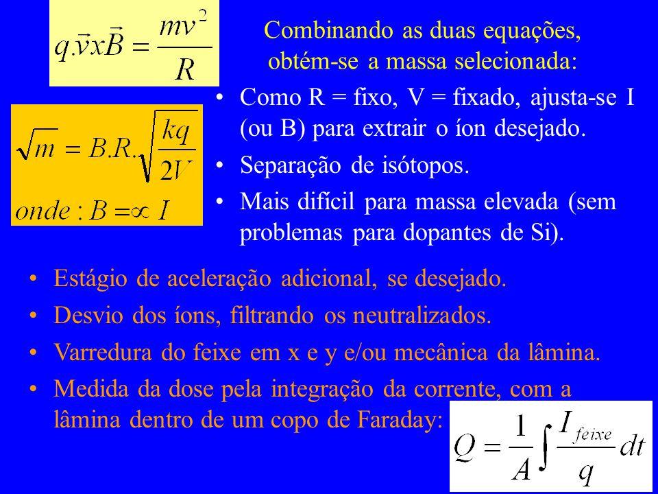 Combinando as duas equações, obtém-se a massa selecionada: