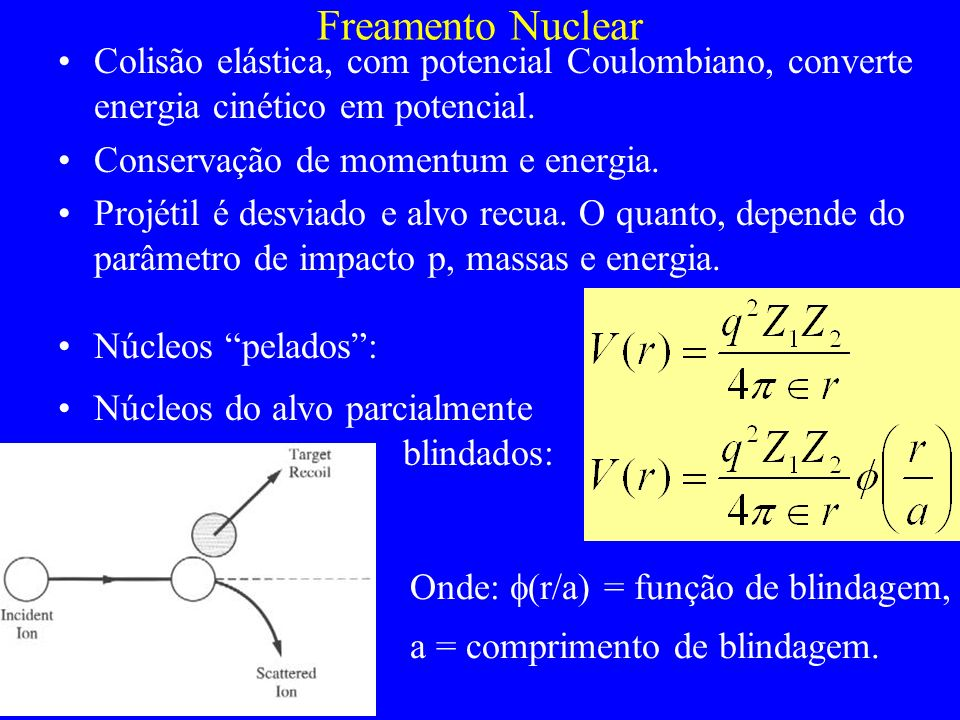 Freamento Nuclear Colisão elástica, com potencial Coulombiano, converte energia cinético em potencial.