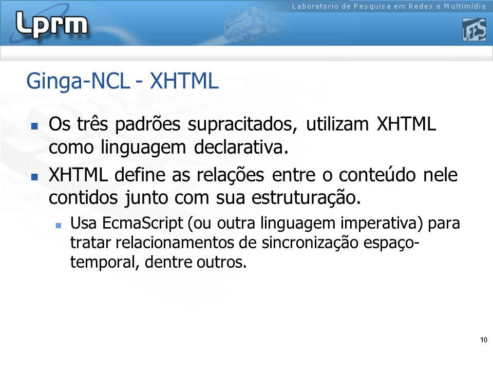 Ginga-NCL - XHTML Os três padrões supracitados, utilizam XHTML como linguagem declarativa.