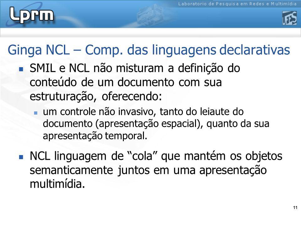 Ginga NCL – Comp. das linguagens declarativas