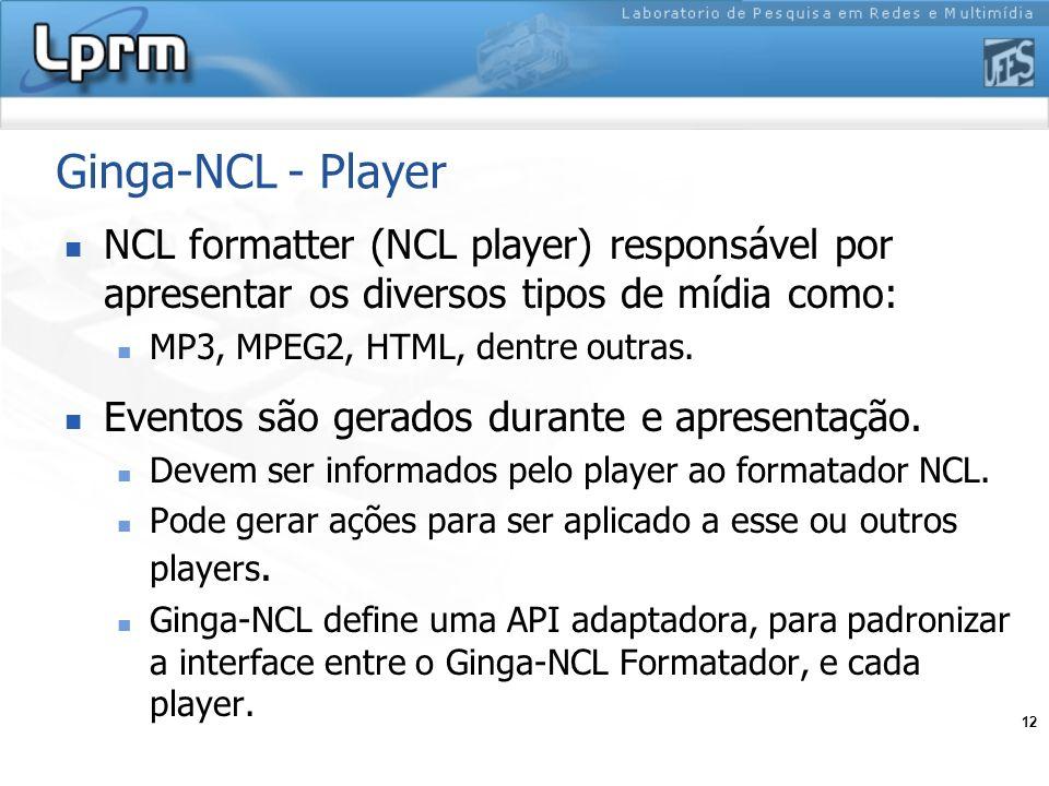 Ginga-NCL - PlayerNCL formatter (NCL player) responsável por apresentar os diversos tipos de mídia como: