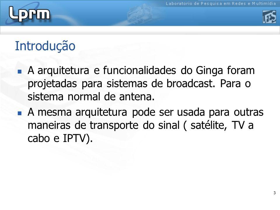 Introdução A arquitetura e funcionalidades do Ginga foram projetadas para sistemas de broadcast. Para o sistema normal de antena.