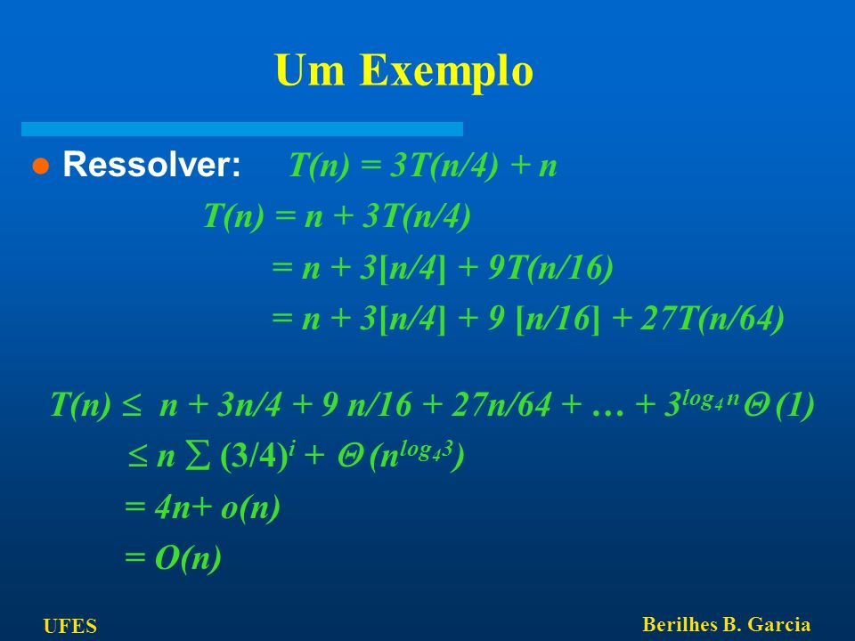 Um Exemplo Ressolver: T(n) = 3T(n/4) + n T(n) = n + 3T(n/4)
