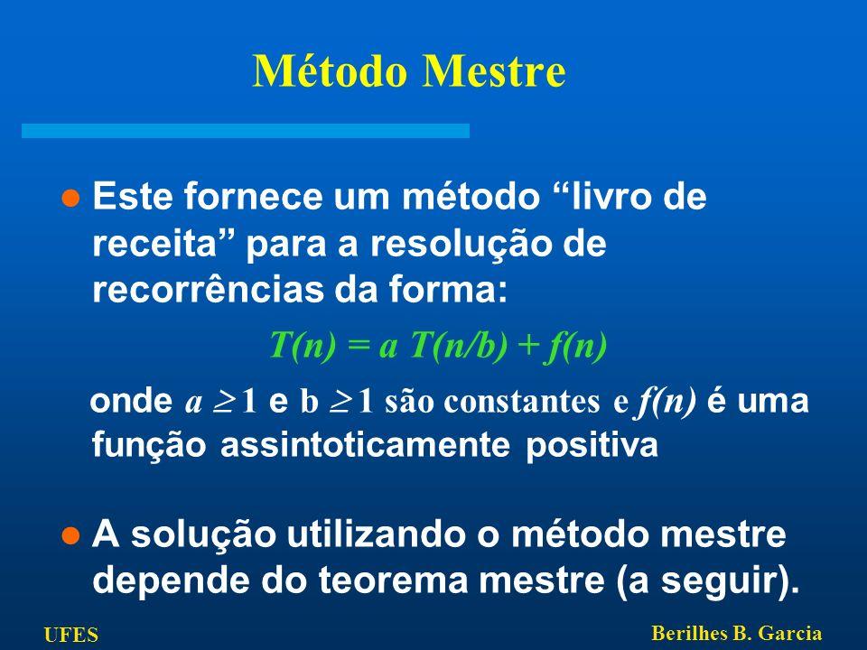 Método Mestre Este fornece um método livro de receita para a resolução de recorrências da forma: T(n) = a T(n/b) + f(n)