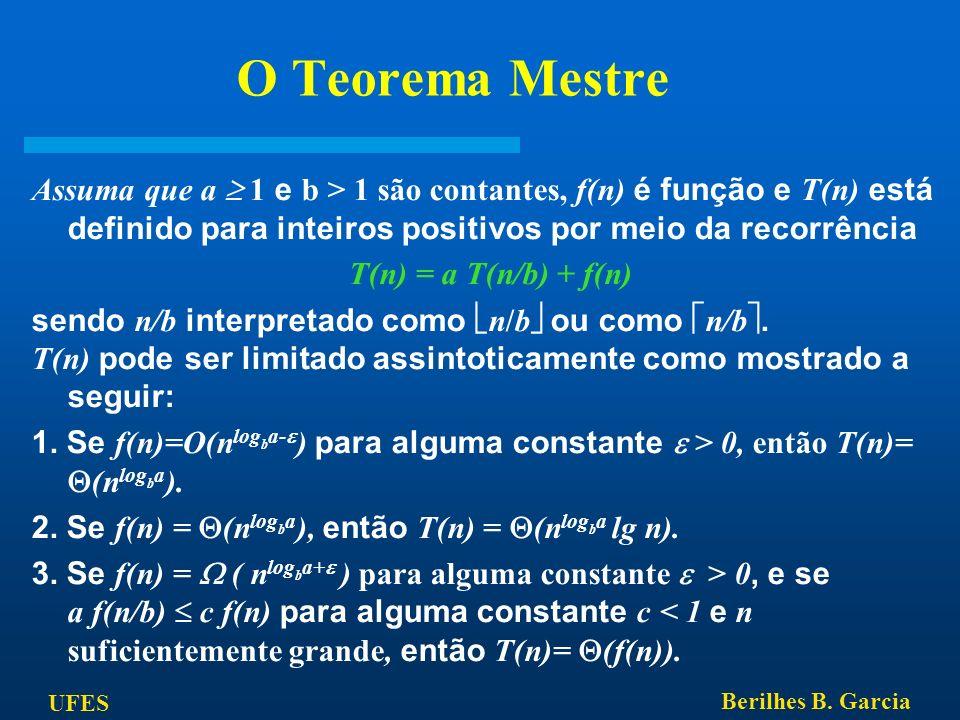 O Teorema Mestre Assuma que a  1 e b > 1 são contantes, f(n) é função e T(n) está definido para inteiros positivos por meio da recorrência.