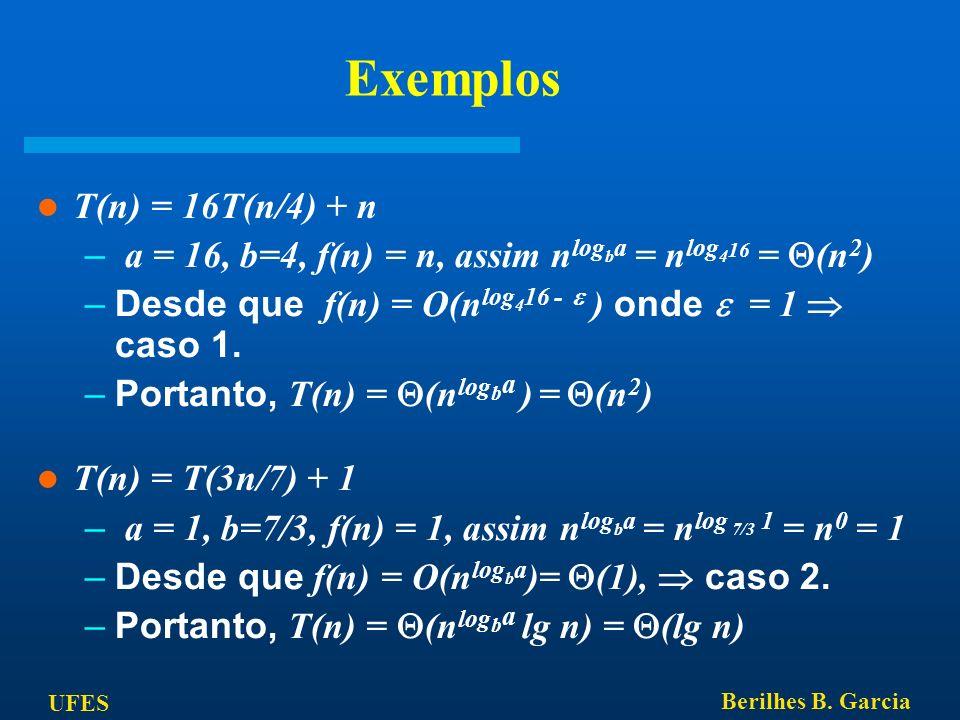 Exemplos T(n) = 16T(n/4) + n