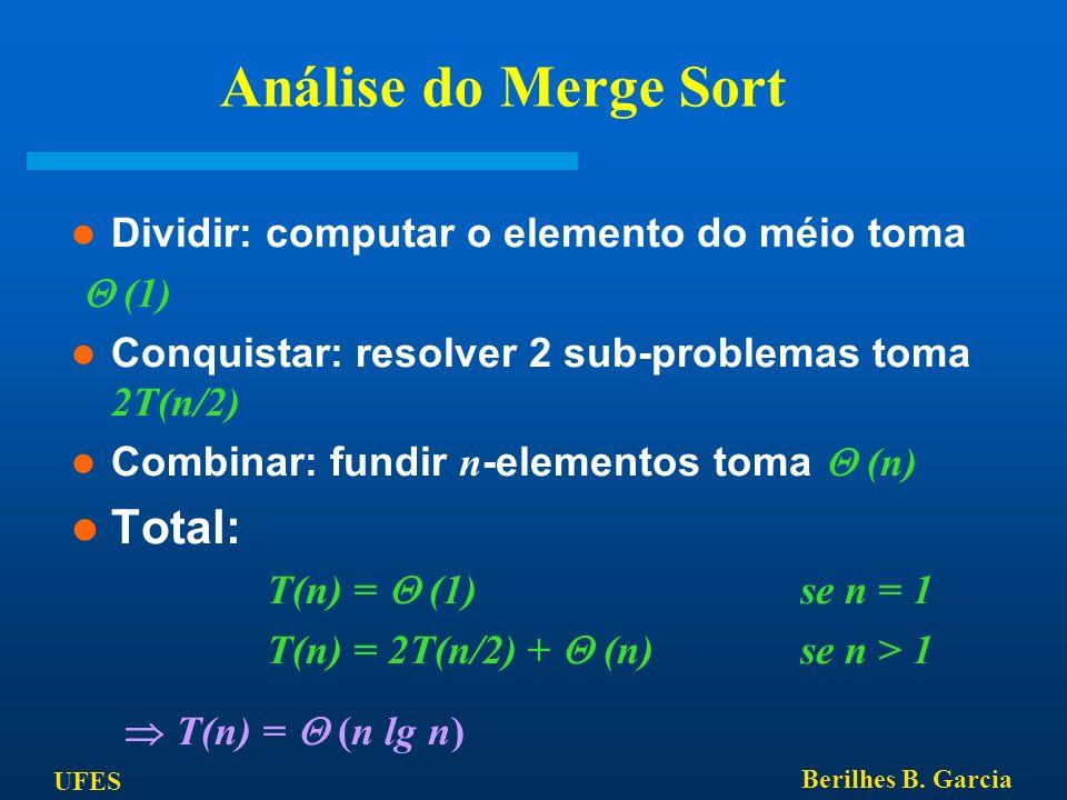 T(n) = 2T(n/2) +  (n) se n > 1