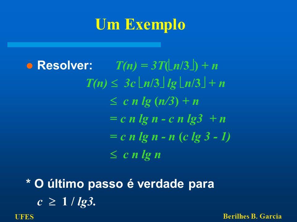 Um Exemplo Resolver: T(n) = 3T(n/3) + n T(n)  3c n/3 lg n/3 + n