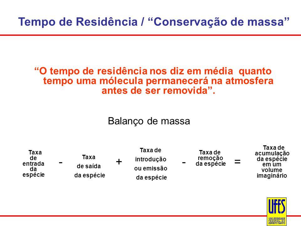Tempo de Residência / Conservação de massa