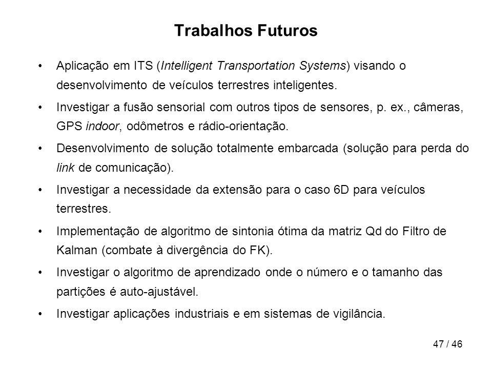Trabalhos Futuros Aplicação em ITS (Intelligent Transportation Systems) visando o desenvolvimento de veículos terrestres inteligentes.