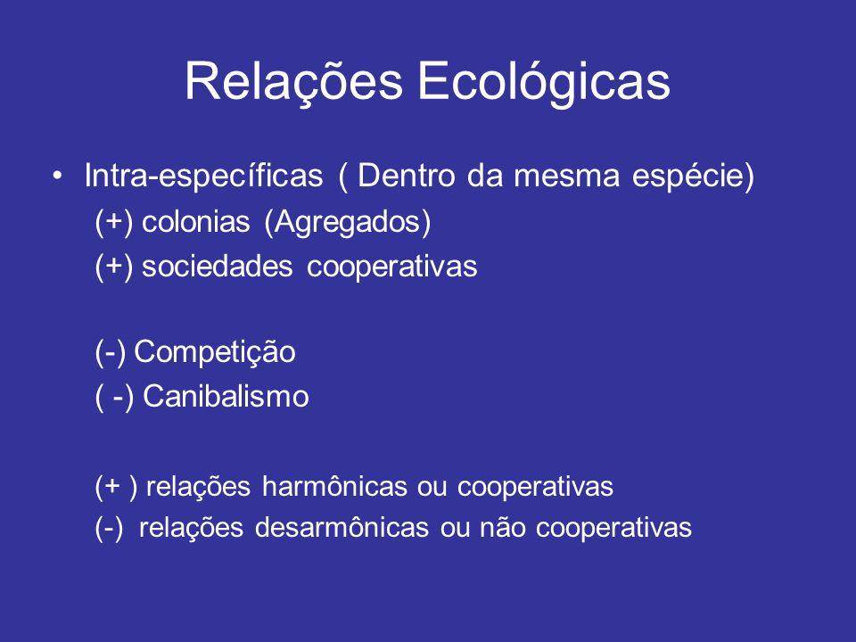 Relações Ecológicas Intra-específicas ( Dentro da mesma espécie)