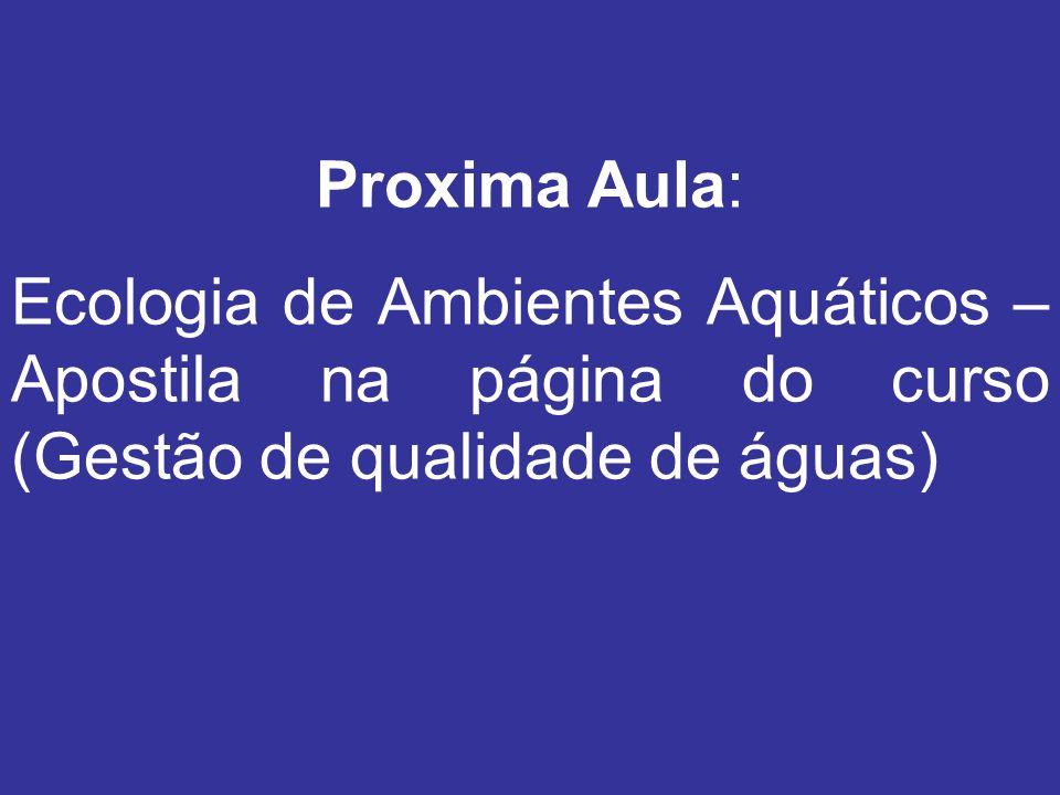 Proxima Aula: Ecologia de Ambientes Aquáticos – Apostila na página do curso (Gestão de qualidade de águas)