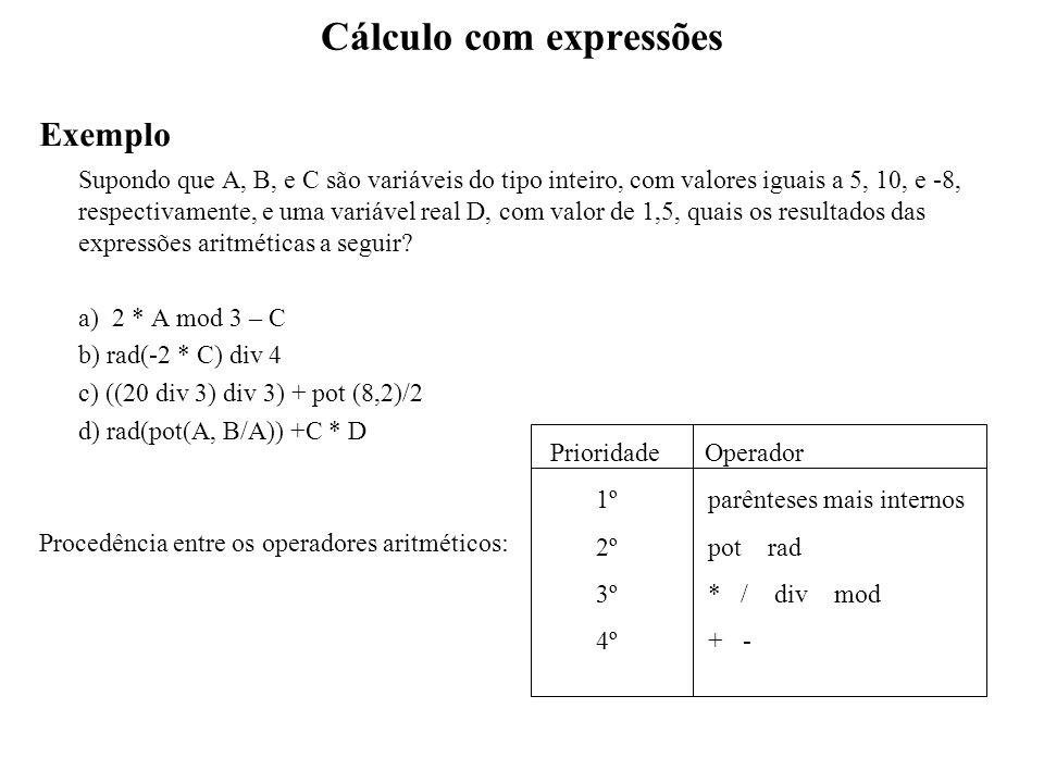 Cálculo com expressões