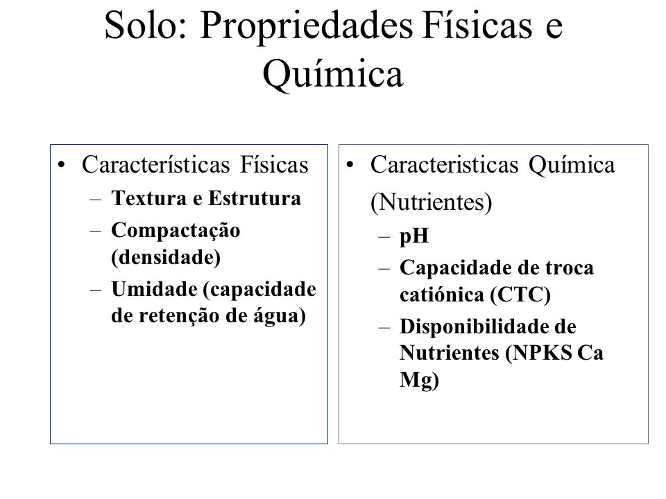 Solo: Propriedades Físicas e Química