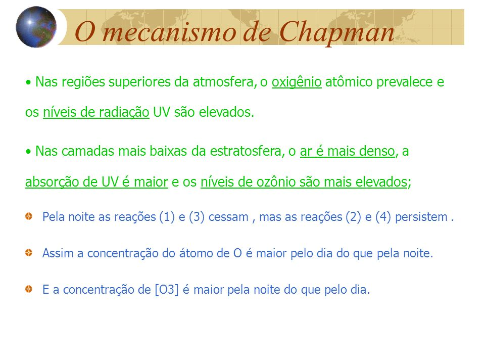 O mecanismo de ChapmanNas regiões superiores da atmosfera, o oxigênio atômico prevalece e os níveis de radiação UV são elevados.