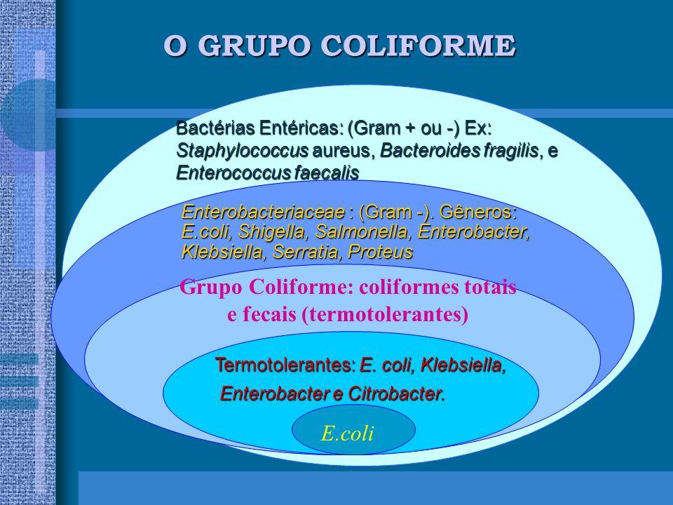 Grupo Coliforme: coliformes totais e fecais (termotolerantes)