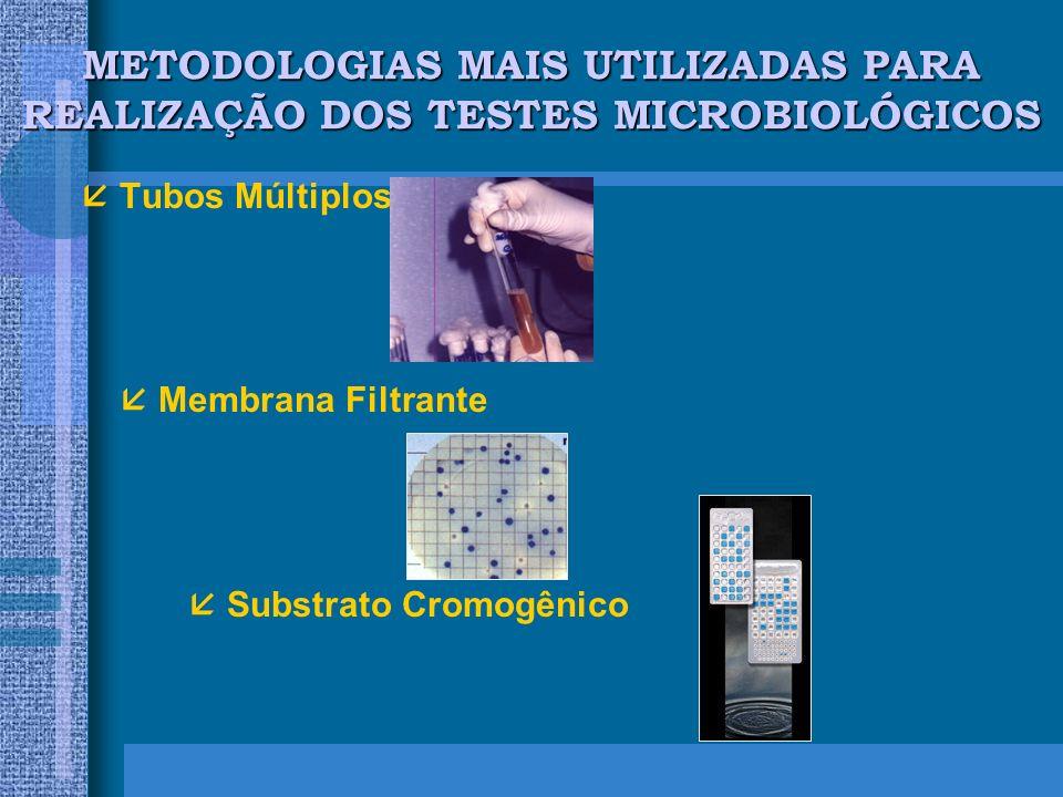 METODOLOGIAS MAIS UTILIZADAS PARA REALIZAÇÃO DOS TESTES MICROBIOLÓGICOS