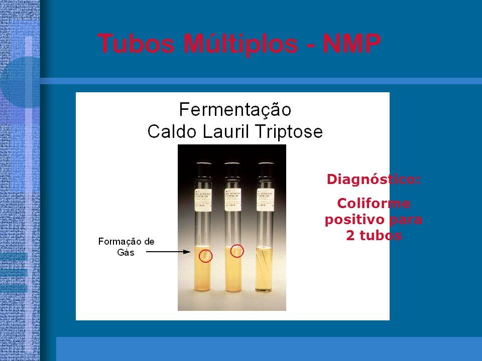 Coliforme positivo para 2 tubos