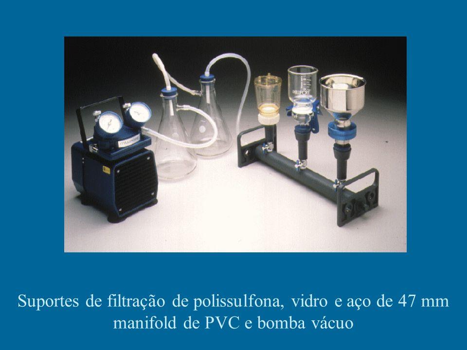 Suportes de filtração de polissulfona, vidro e aço de 47 mm