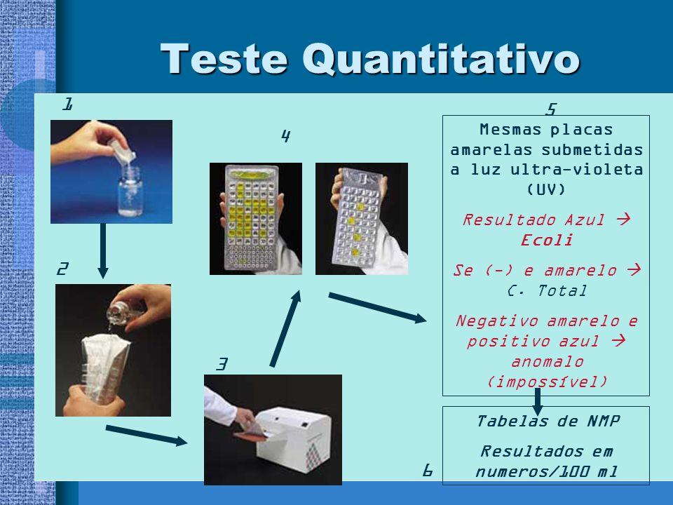 Teste Quantitativo 1. 5. Mesmas placas amarelas submetidas a luz ultra-violeta (UV) Resultado Azul  Ecoli.