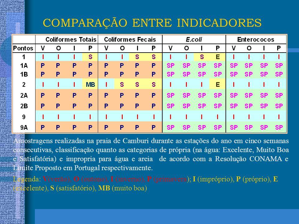 COMPARAÇÃO ENTRE INDICADORES